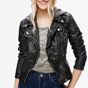 Free People - Vegan Leather Hooded Jacket
